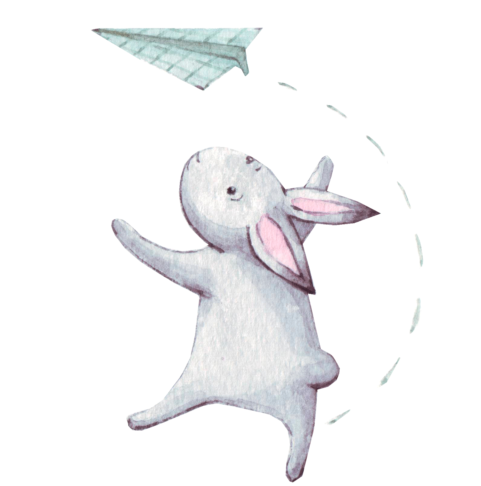 Illustration rabbit playing with origami plane