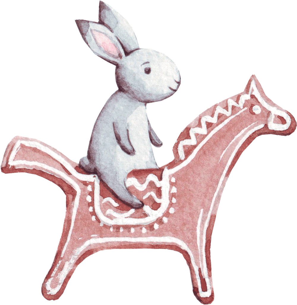 Illustration rabbit & horse biscuit