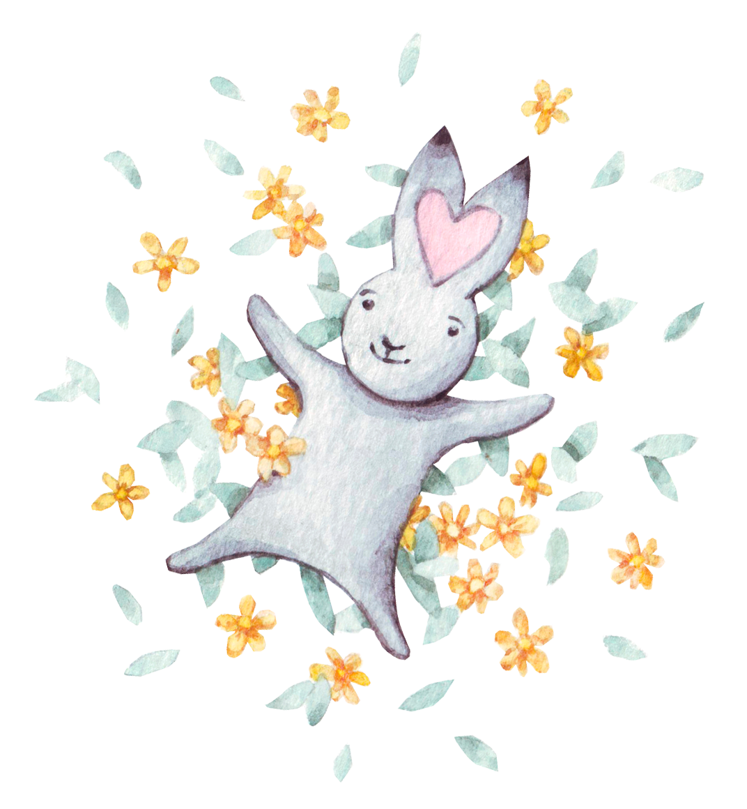 Illustration rabbit  flowers